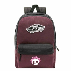 Plecak szkolny Vans Realm Prune Purple Black - VN0A3UI6TQR - Custom Cute Skull