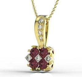 Wisiorek z żółtego złota z rubinami i diamentami jpw-56z-r - rubin