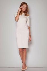 Beżowa szykowna sukienka z rękawem do łokcia