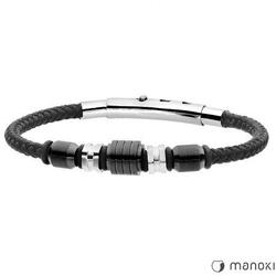 Bransoleta męska ze sznurka w kolorze czarnym i stali nierdzewnej manoki ba594b