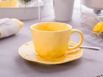 Filiżanka porcelanowa ze spodkiem wytłaczana altom design sunny 200 ml
