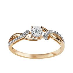 Staviori Pierścionek. 1 Diament, szlif brylantowy, masa 0,01 ct., barwa H, czystość SI1-SI2. Żółte Złoto 0,585.