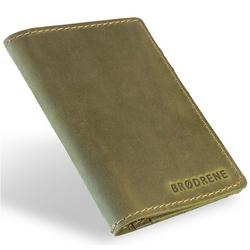 Skórzany cienki portfel slim wallet brodrene sw01 oliwkowy - oliwkowy
