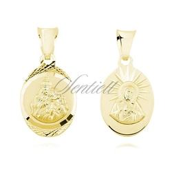 Srebrny medalik jezus matka  boska szkaplerzna - żółte złoto