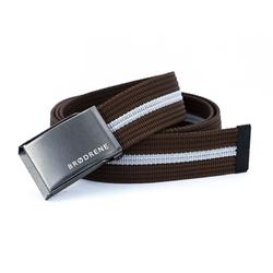 Brązowo biały pasek do spodni parcianka brodrene p09 graphite