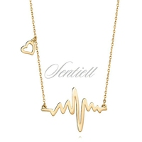 Srebrny naszyjnik pr.925 linia pulsu i serduszko - pozłacany - żółte złoto