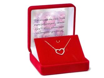 Srebrny pozłacany naszyjnik pr. 925 serce z cyrkoniami 42-45 cm regulowane dedykacja