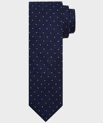 Krawat wełniano-jedwabny koloru granatowego w białe kropki