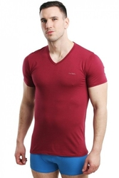 Koszulka męska vneck bordowa pierre cardin