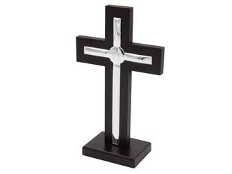 Krzyż drewno posrebrzany pamiątka chrztu dedykacja