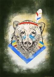Miś indianin - plakat wymiar do wyboru: 40x60 cm