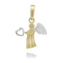 Złoty wisiorek anioł z sercem pr. 585 na chrzest komunię