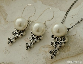 Celebra - srebrny komplet perła i kryształy