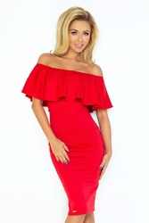 Czerwona sukienka bodycon z falbaną