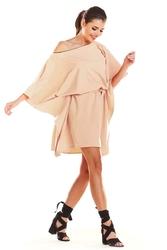 Kimonowa Beżowa Sukienka z Paskiem