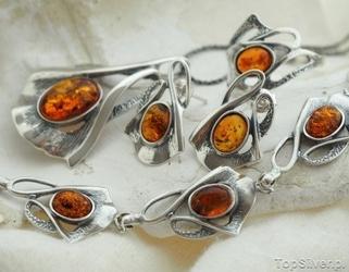 Balsa - srebrny komplet z bursztynami