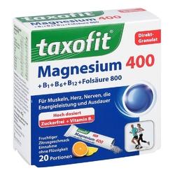 Taxofit magnesium 400+ b1+ b6+ b12+ kwas foliowy 800 saszetki