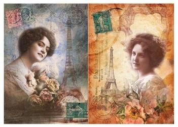 Papier ryżowy Calambour 33x48 cm kobieta Paryż