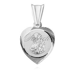 Srebrny medalik serce matka boska częstochowska