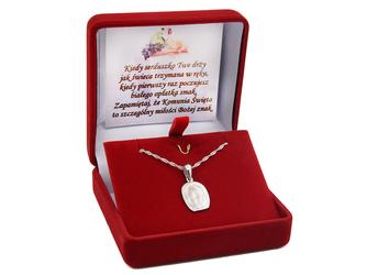 Srebrny medalik Matka Boska z Dzieciatkiem DEDYKACJA