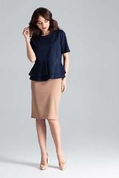 Granatowa elegancka bluzka z podwójną baskinką