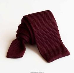 Bordowy wełniany krawat z dzianiny knit