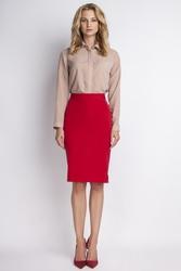 Ołówkowa czerwona spódnica midi z wysokim stanem