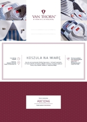 Karta podarunkowa na koszulę szytą na miarę van thorn z tkanin s.i.c. tess e-voucher pdf