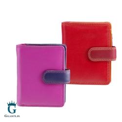 Kolorowy portfelik damski czerwony i śliwkowy visconti rb-40 rfid