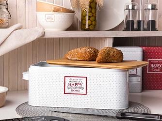 Chlebak  pojemnik na chleb i pieczywo metalowy z pokrywką bambusową altom design victoria home