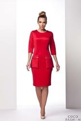 Czerwona Elegancka Wizytowa Sukienka z Kieszeniami