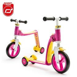 Highwaybaby plus hulajnoga trójkołowa  i rowerek biegowy 2w1 dla dzieci 1+ - różowy