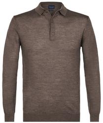 Elegancki ciemnoszary sweter polo z długimi rękawami  S