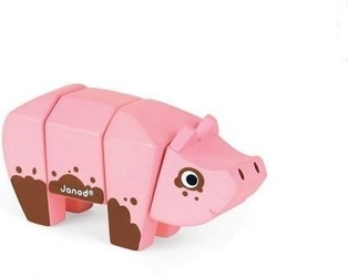 Świnka drewniana do złożenia, janod - świnka