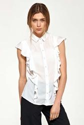 Ecru letnia koszulowa bluzka z falbankami
