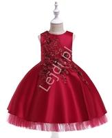 Długa sukienka w w kolorze wina zdobione haftowanymi kwiatami 3d- 5056
