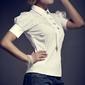 biała elegancka bluzka z kokardkami