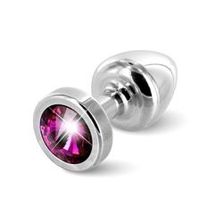 Sexshop - diogol anni butt plug 25mm okrągły srebrny z różowym - plug analny ozdobny - online