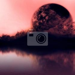 Obraz czyste niebo, zachód słońca z góry sylwetka i planety ścisłej