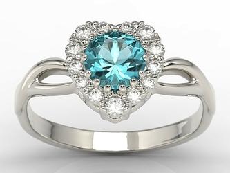 Pierścionek w kształcie serca z topazem swarovski blue i diamentami ap-77b - białe  topaz ice blue