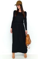 Czarna dzianinowa długa sukienka z podkreśloną talią