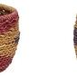 Koszyk hübsch okrągły czerwono-fioletowy pleciony 2 szt.