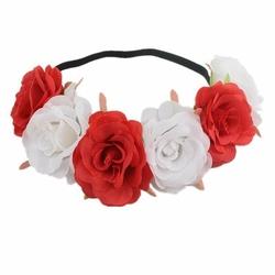 WIANEK opaska NA GUMCE duże kwiaty BIAŁY CZERWONY - 34931