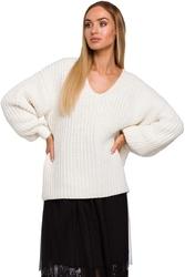 Ecru sweter oversize z dekoltem w serek z połyskującej przędzy