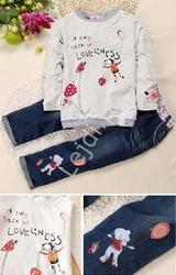 Zestaw dziewczęcy - bluzka + jeansy z myszką 056