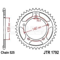 Zębatka tylna stalowa jt 1792-43, 43z, rozmiar 525 2301494 suzuki dl 650, triumph bonneville 865