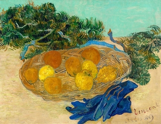 Still life of oranges and lemons with blue gloves, vincent van gogh - plakat wymiar do wyboru: 100x70 cm