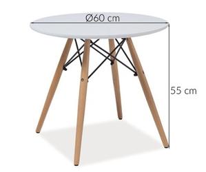Mały stolik kawowy riko 60 cm biały skandynawski