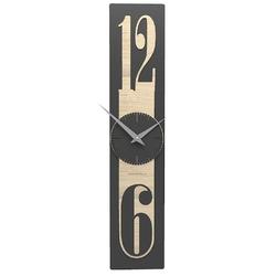 Zegar ścienny 12 x 58 cm thin calleadesign ciemnoszary  jasny dąb 10-026-81