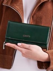 Skórzany portfel damski zielony lorenti - zielony